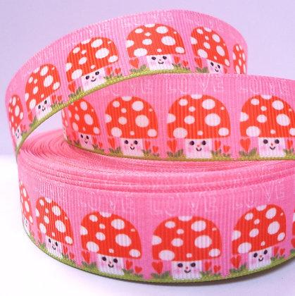 Cute Grosgrain Ribbon :: Happy Toadstools on Pink