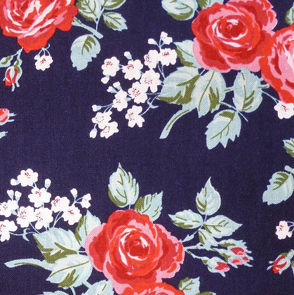 Fabric :: Fox Farm Flowers :: Roses on Navy