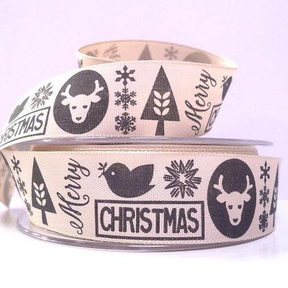 "1"" Ribbon :: Scandi Christmas Black"