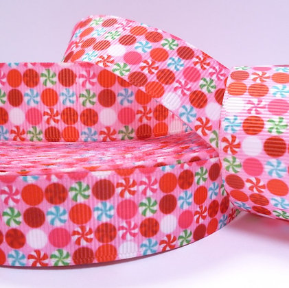 Christmas Grosgrain Ribbon :: Candy Dots on Pink