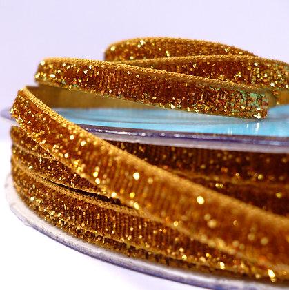 5mm Glitter Velvet Ribbon :: Yellow Gold