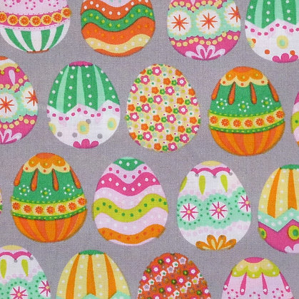 Fabric :: Easter Eggs :: Grey