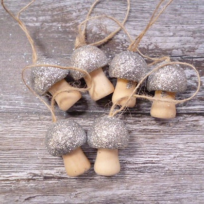 Glittery Mushrooms :: Hanging :: Silver x6