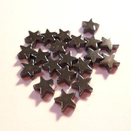 haematite star beads :: pack of 20