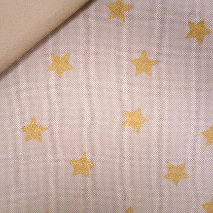 Fabric Felt :: Natural Christmas :: Big Gold Stars on Beige
