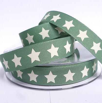 Nordic Christmas Ribbon :: Stars on Green