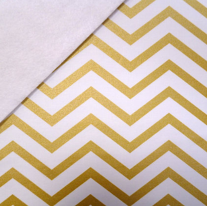 Fabric Felt :: Metallic Gold Chevron on White