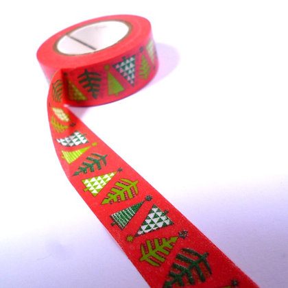 Christmas Washi Tape :: Red & Trees