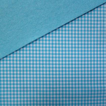 Fabric Felt :: Wide Turquoise Gingham on Turquoise