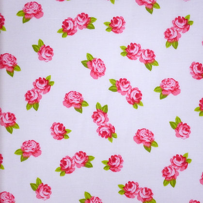 Fabric :: Wide :: White & Pink Roses