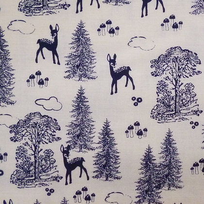 BOLT END SALE :: Woodland Spring :: Mini Deer Navy :: 155cm x 110cm
