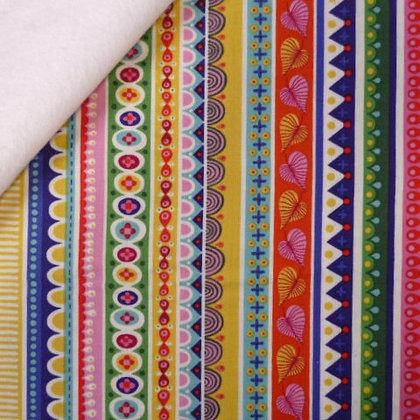 Fabric Felt :: Forever Magic :: Multi Rainbow Folk Stripes on White