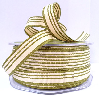 "1/2"" Stripe Ribbon :: Olive & Cream"