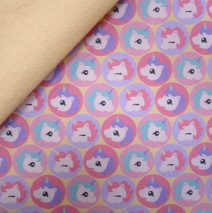 Artisan Fabric Felt :: Cute Baby Unicorns (in circles) on Vanilla