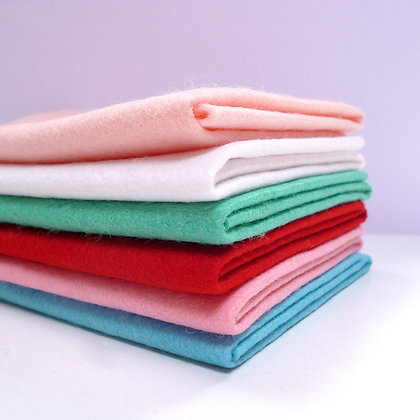 Premium Wool Felt Colour Pack :: Christmas Aqua/Red/White