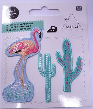 Pack of Embroidered Motifs :: Flamingo & Cacti