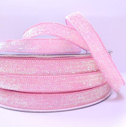 10mm Glitter Velvet Ribbon :: Pastel Pink
