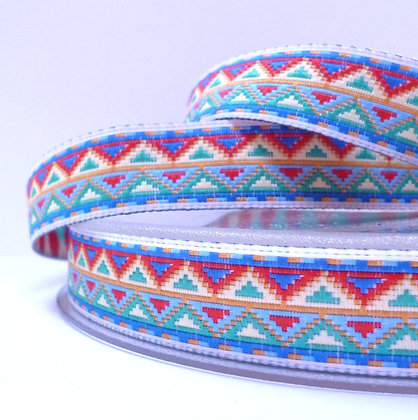 Embroidered Geo Ribbon :: Blue