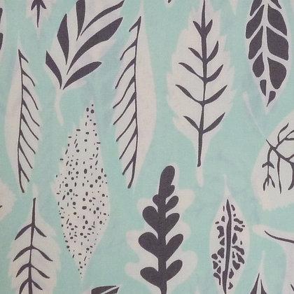 SALE Fabric :: Hello Bear :: Aqua Leaves