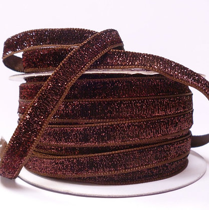 10mm LUXURY Glitter Velvet Ribbon :: Brown