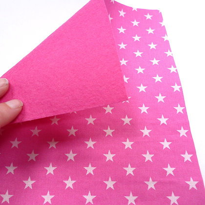 Fabric Felt :: Pink + White Stars on Candy Pink