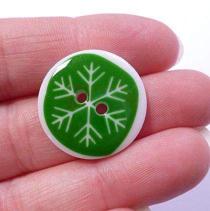 Christmas Button :: Green Snowflake