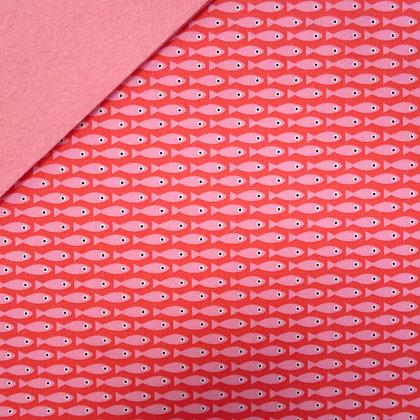 Fabric Felt :: Copenhagen Pink Fish on Baby Pink