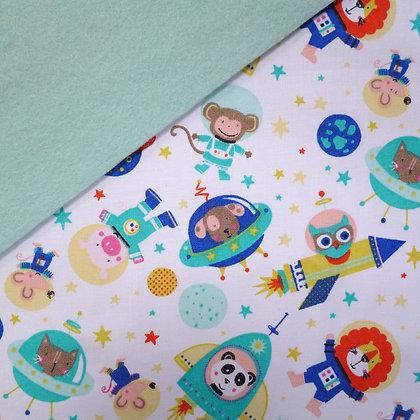 Fabric Felt :: Blue Space on Pale Mint LAST FEW