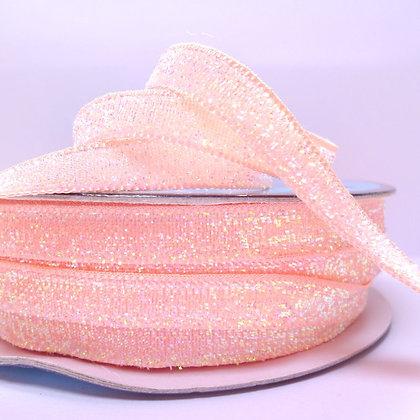 10mm Glitter Velvet Ribbon :: Pastel Coral