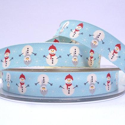 NEW Cotton Christmas Ribbon :: Snowman Aqua