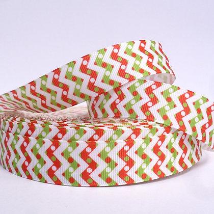 Christmas Grosgrain Ribbon :: Chevron White