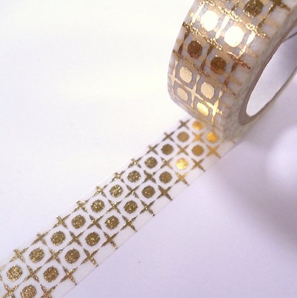 Washi Tape Roll :: Grid & Dots Gold
