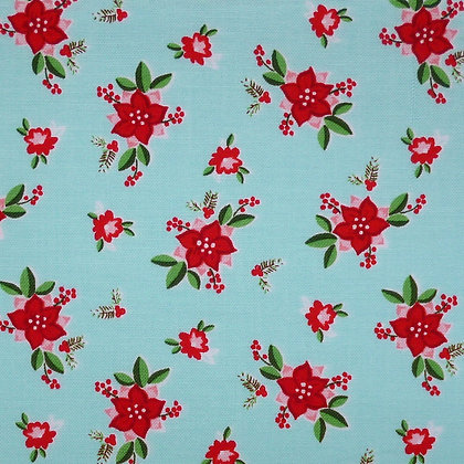 Fabric :: Pixie Noel :: Aqua Red Christmas Flower
