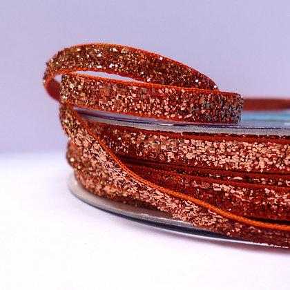 5mm Glitter Velvet Ribbon :: Bronze