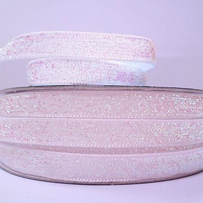 10mm Glitter Velvet Ribbon :: Pastel White