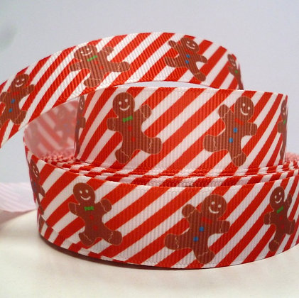 Christmas Grosgrain Ribbon :: Gingerbread on Candy Stripe