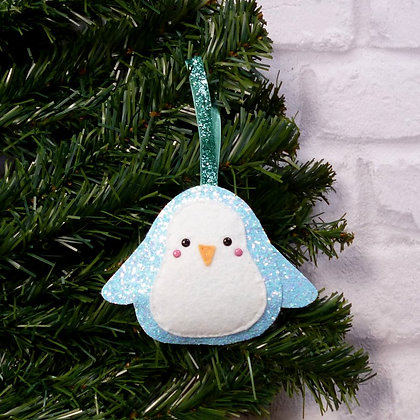 Turquoise Glitter Penguin :: Icy Pastel Christmas :: made to order