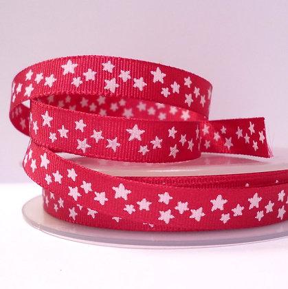 Double Sided Star Ribbon :: Fuchsia