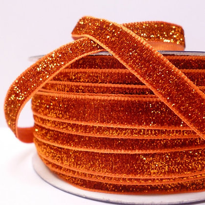 10mm LUXURY Glitter Velvet Ribbon :: Orange
