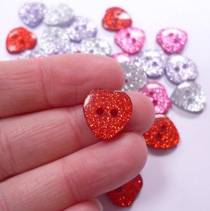 Medium Glitter Heart Button Pack
