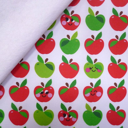 Artisan Fabric Felt :: Red & Green Happy Apples on White