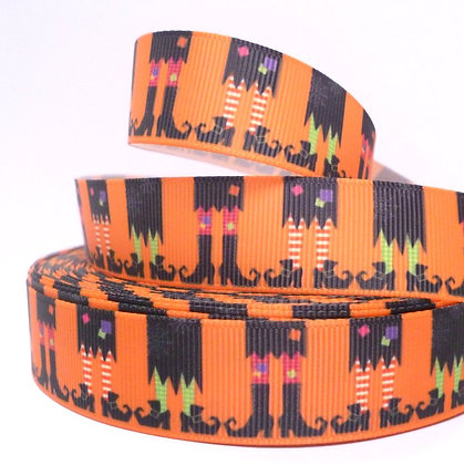 Halloween Grosgrain Ribbon :: Witch Feet Orange