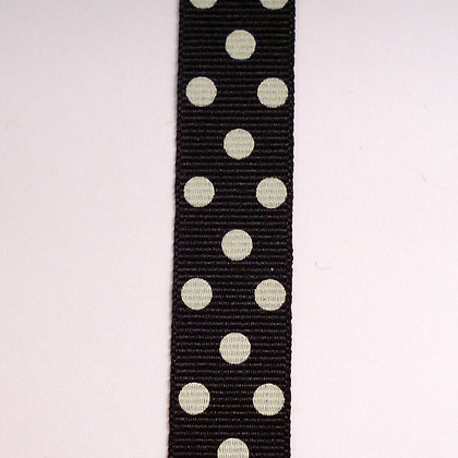 Spot Grosgrain Ribbon :: Black + Natural Spots