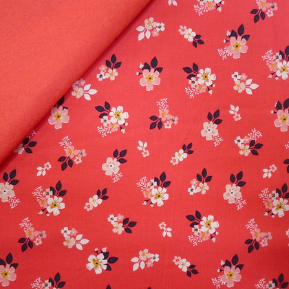 Fabric Felt :: Vintage Daydreams Small Red Floral on Coral LAST FEW