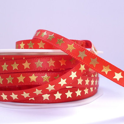 "1/4"" star ribbon :: red & gold"