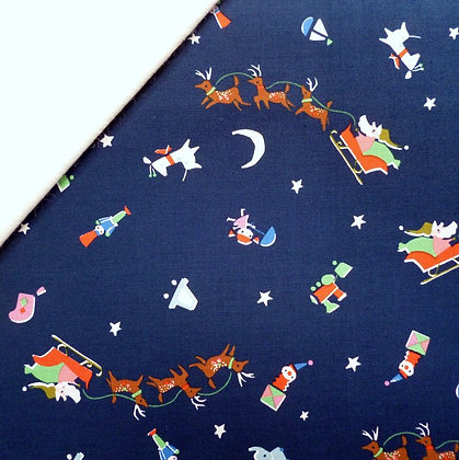 Fabric Felt :: Way Up North :: Santa's Sleigh Navy on Natural