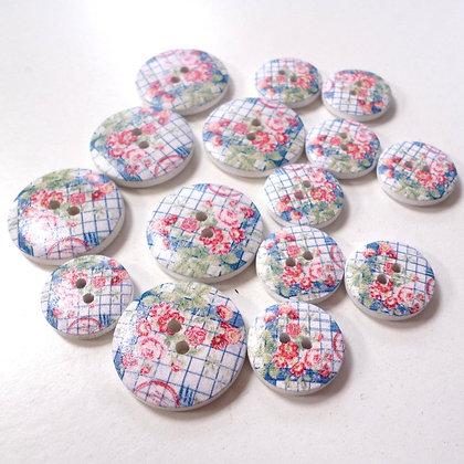 Wooden Button Pack :: Grid Flower