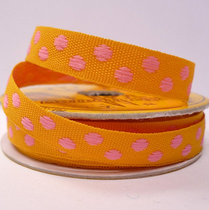 2m Spool :: Woven Dots :: Yellow & Pink