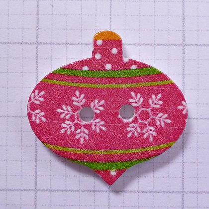 Wooden Bauble Button :: Red Snowflake