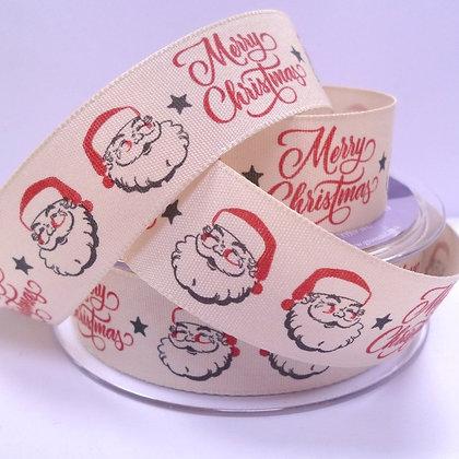 "1"" Ribbon :: Merry Christmas Vintage Santa"